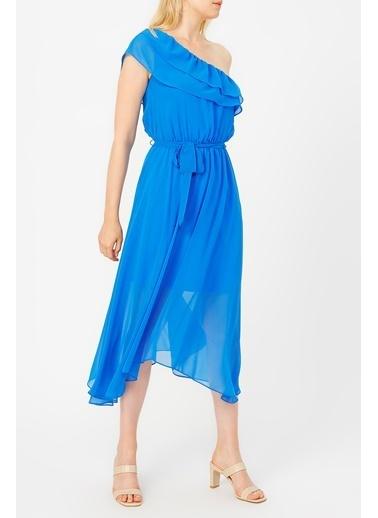 Random Kadın Yakası Volanlı Tek Omuz şifon Elbise Mavi